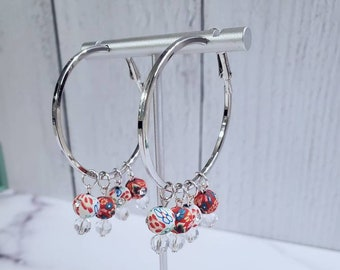 Hoop Earrings - Statement Earrings Crystal Statement Necklace Gold Crystal Statement Necklace Weddings BRIDESMAIDS Earrings 4th of July
