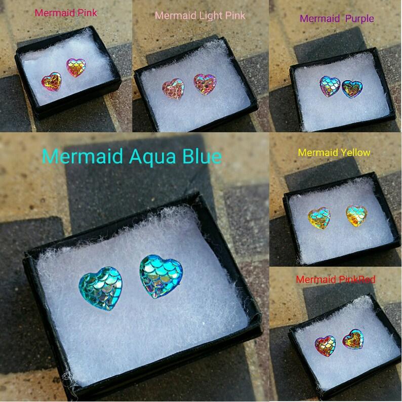 Statement Earrings Mermaid Heart Stud Earrings Weddings Bridesmaids Scales Sterling Silver Chunky Earrings Prom earrings Easter earrings