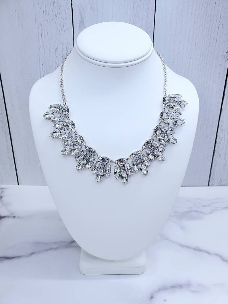 Statement Necklace Crystal Statement Necklace Gold Crystal image 0