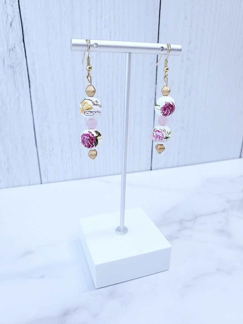 Statement Earrings Floral Jewelry Weddings Rose Gold Earrings Mother/'s Day Gold Dangle Earrings White Bridesmaids Pink