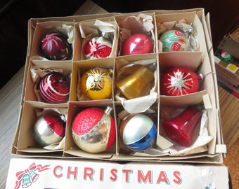 Vintage Shiny Brite West Germany Made in USA  Christmas Tree Ornaments Box of 12 Striped Floral Flower Glitter Indent Teardrop  USA