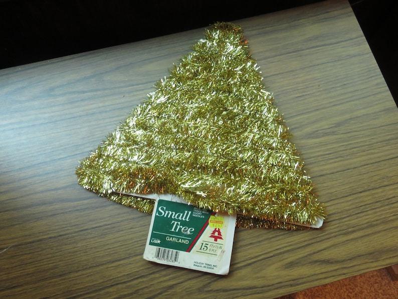 Vintage Small Tree Christmas Tree Gold Tinsel Garland 15 Ft