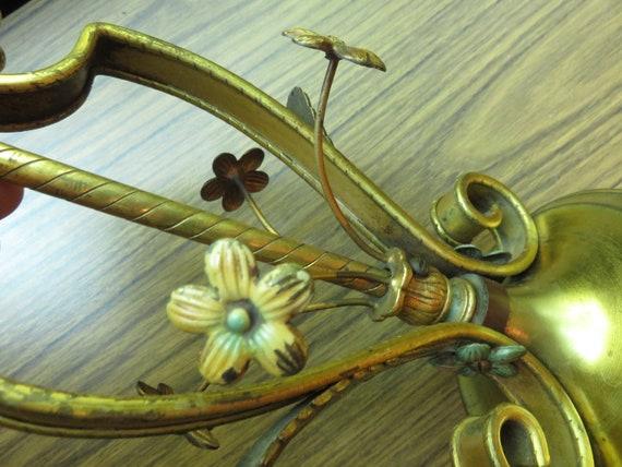 Lampe En Laiton Vintage Fleur Floral Tole