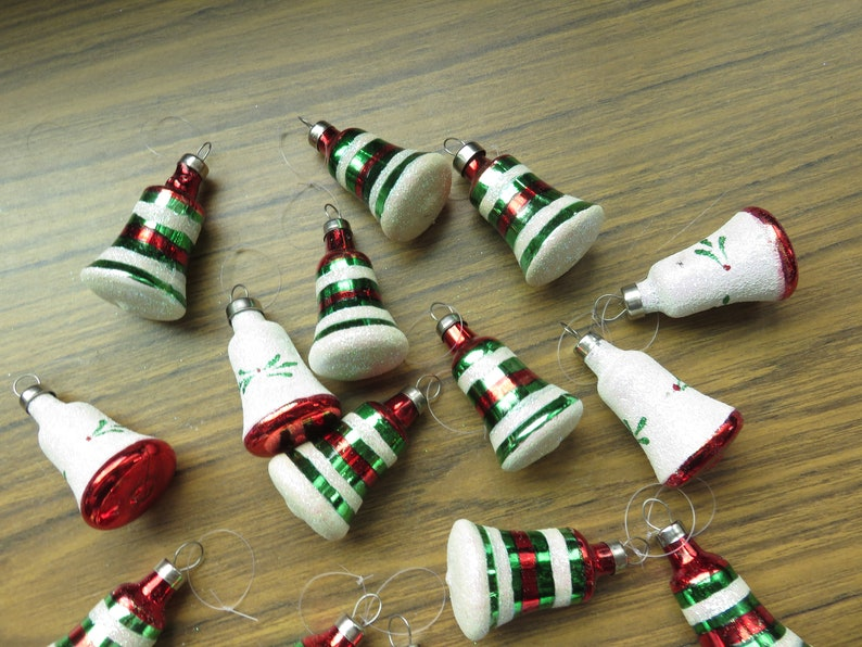 Vintage Lot of 18 Mini Feather Tree Bell Glitter Striped Glass Christmas Tree Ornaments