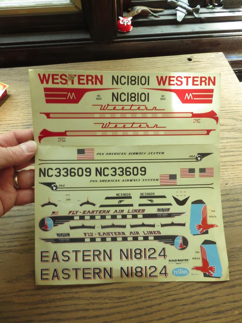 Vintage Testors Model Pan Am Eastern Air Lines Model Decals