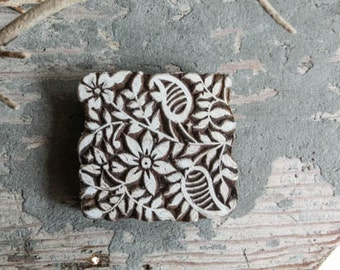 Hand Carved Indian Block Printing Stamp Wooden Block square with Flowers for fabric and paper printing Sheesham Wood