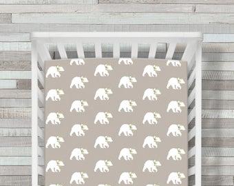 Crib Sheet, Crib Bedding, Bear Crib Sheet, Woodland Crib Sheet, Bear Baby Bedding, Bear Crib Sheets, Fitted Crib Sheet, Crib Bedding, Baby