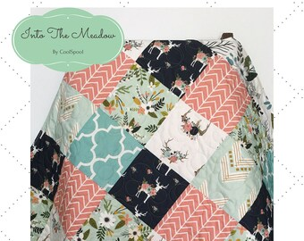 Woodland Baby Quilt Girl, Fawn Deer Quilt, Crib Bedding Girl Woodland, Navy Crib Bedding, Baby Bedding Girl, Baby Blanket, Into The Meadow