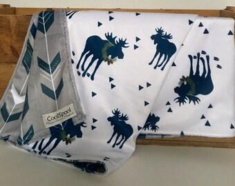 Baby Blanket Moose, Navy and Gray Minky Blanket, Minky Baby Blanket, Woodland Minky, Stroller Blanket, Carseat Blanket, Lovey, Baby Blanket