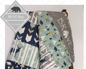 Baby Quilt, Boy, Quilt, Bear, Deer, Arrow, Brave, Birch Forest, Woodland, Navy, Mint, Gray, Teepees, Crib Bedding, Baby Bedding, Brave Bear