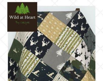 Camo Baby Quilt, Camo Baby Blanket, Camo Baby Quilt, Hunting Baby Bedding, Dogs and Ducks Crib Bedding, Crib Bedding Dog, Wild at Heart