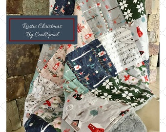 Christmas Throw Quilt, Christmas Quilt, Winter Throw Blanket, Christmas Blanket, Minky Throw Quilt, Home & Living, Gift Giving, Home Decor