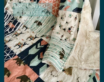 Woodland Girl Quilt, Navy Fawn Quilt, Pink Crib Bedding, Bear Quilt Girl, Woodland Girl Bedding, Navy Pink Girl Blanket, Enchanted Forest
