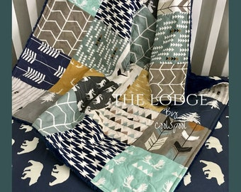 The Lodge Baby Quilt, Woodland Crib Bedding, Woodland Crib Quilt, Navy and Mustard Quilt, Crib Bedding Boy, Baby Bedding Woodland, The Lodge