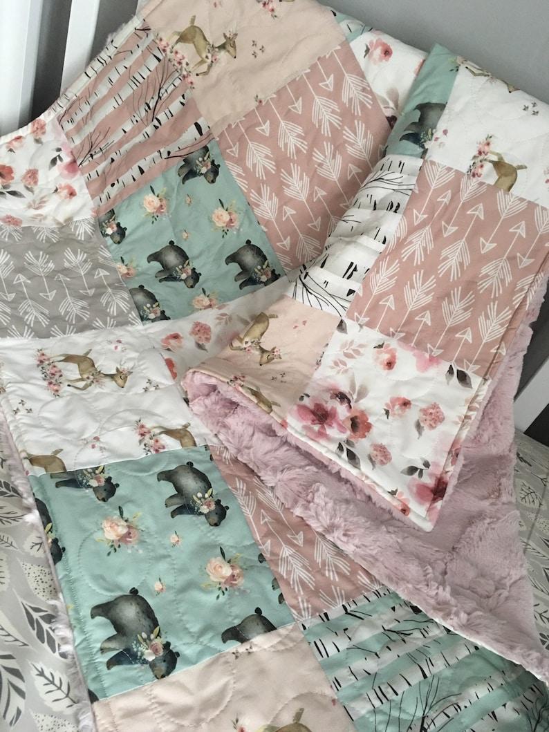 Birch Nursery Quilt Baby Quilt Girl Woodland Crib Bedding Girl Throw Quilt Blanket Woodland Girl Quilt Crib Bedding Girl Birch Blossom