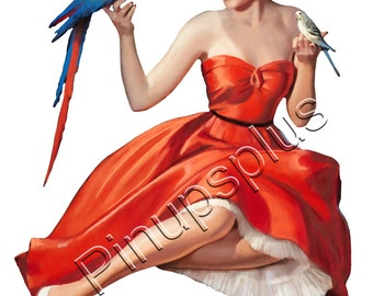 Retro Red Devil Pinup Girl Waterslide Decal Sticker for Guitars /& Much More S788