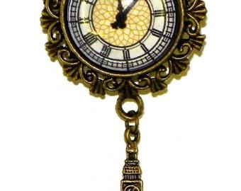 Big Ben Clock Tower Westminster London UK Antique Bronze Pin Brooch Steampunk