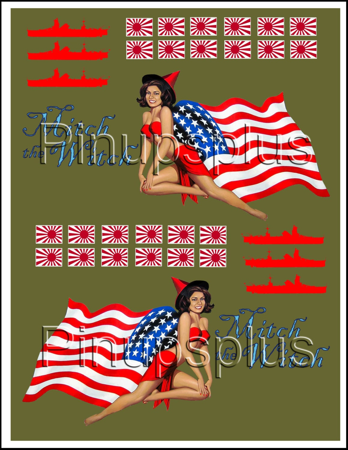 Model building RC Pinup Girl Waterslide Decal Sticker Nose Art on Olive Drab