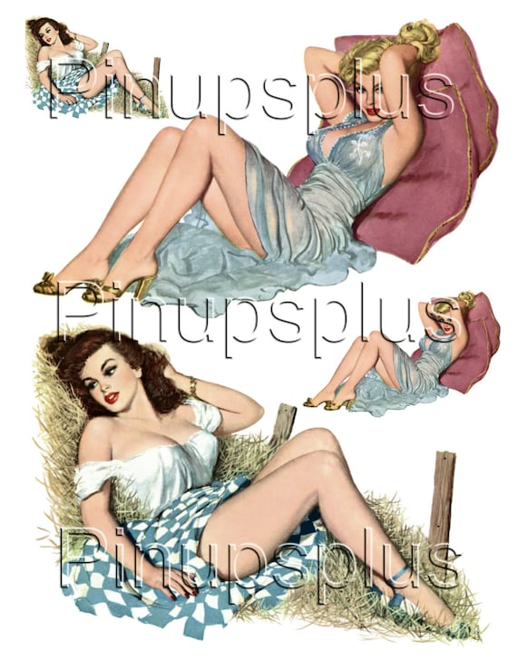Rockabilly Retro Wwii Pin Up Girl Bomber Art Guitar Waterslide Etsy
