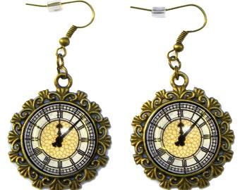 Big Ben Clock Face Tower Westminster London UK British Antique Bronze Earrings