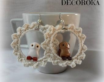 Earrings crochet with owls