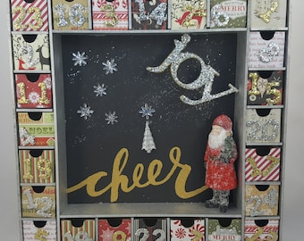 Silver and Gold Christmas Cheer Wooden Christmas Countdown / Advent Calendar