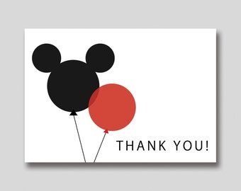 Instant Download Mickey Minnie Mouse Thank You Card Diy Etsy