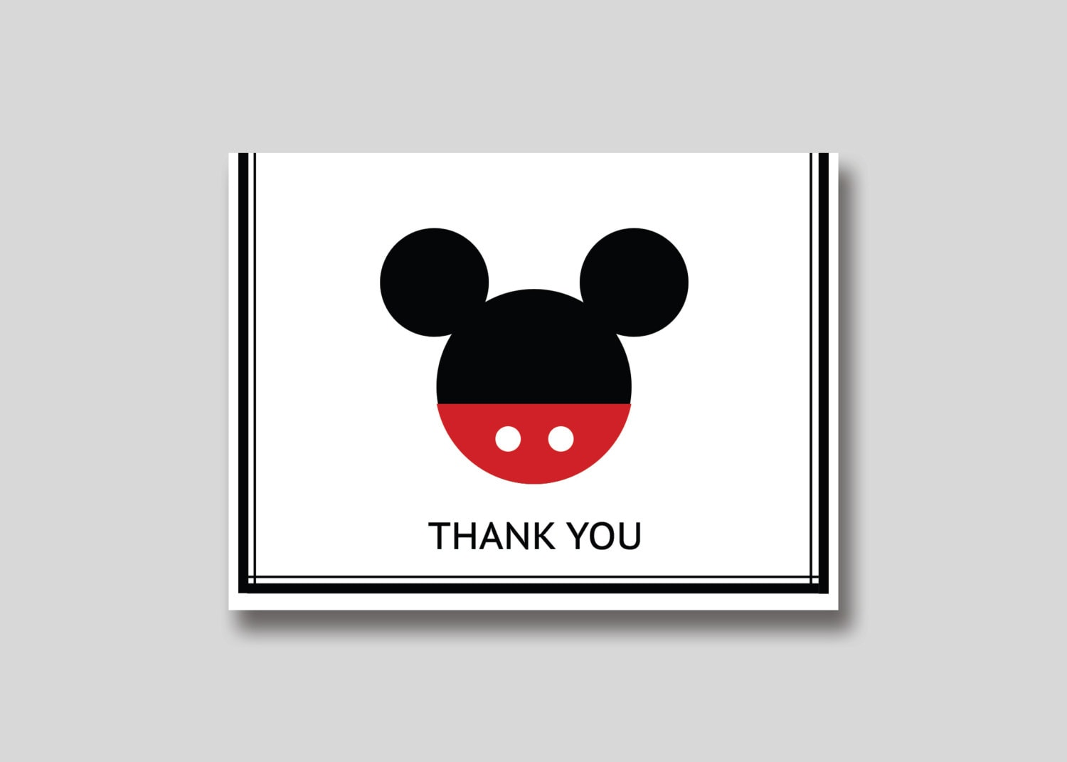 Instant Download Mickey Mouse Thank You Card Diy Printable Etsy