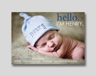 Hello I'm... Birth Announcement with Photo -  Printable
