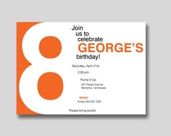 Modern Block Number Birthday Invitation - Custom DIY Printable