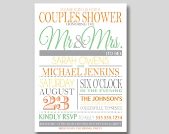 Typography Couples Shower Invitation - Custom Printable