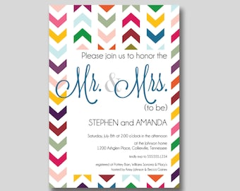 Chevron Mr. & Mrs. Couples Wedding Shower Invitation - Custom DIY Printable