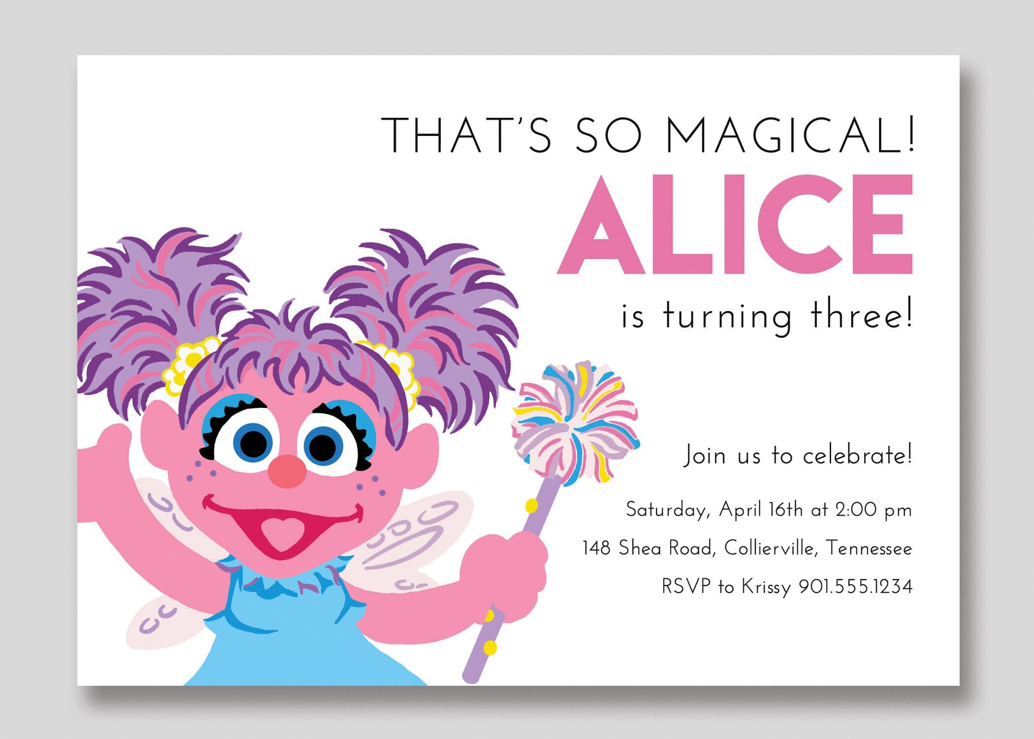 Abby Cadabby Sesame Street Birthday Invitation Custom | Etsy