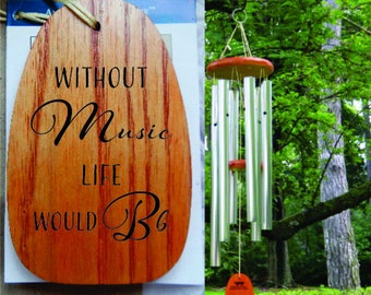 11cfebef2 Without Music Life Would Be Flat, Personalized Wind Chimes, Musician Gifts  For Men, Music Teacher, Gift For Music Lover, Classical Music