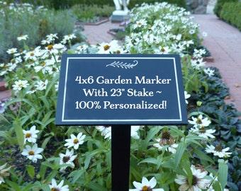 "100% Personalized Garden Plaque, 4""x6"" with 23"" Stake, Custom Garden Sign, Garden Dedication Marker, Tree Dedication Garden Memorial Plaque"