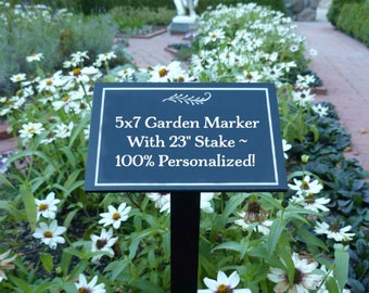 """Personalized Garden Marker - 5""""x7"""" with 23"""" Stake - Custom Marker - Garden Sign - Garden Plaque - Memorial Garden - Tree Sign - Tree Plaque"""