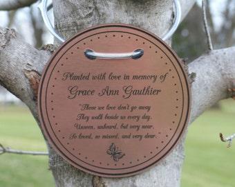 Tree Charm™ tree dedication marker, tree plaque, tree tag, tree marker, personalized tree marker, memorial tree, custom engrave copper color