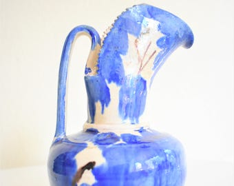 Vintage 1940's Blue & White Flower Vase Pitcher Made in Mexico Tlaquepaque Pottery Folk Art