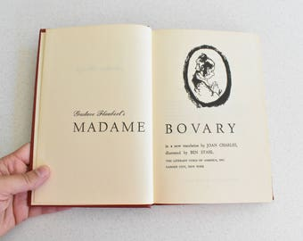 Vintage Hardcover Madame Bovary by Gustav Flaubert Red & Gold Color Illustrations
