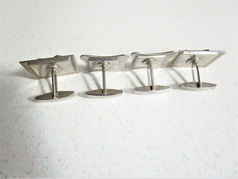 Set of Two Cuff Links Art Deco Geometric Style Darwin Fish Black Blue Silver Tone Vintage