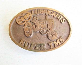 Vintage John Deere Brass Belt Buckle Farmland Series Coop Lubricants Super TMS Tractor Cowboy