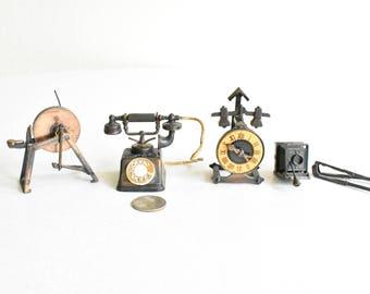 Dollhouse Miniatures Vintage Metal Clock Spinning Wheel Camera & Phone Durham Industries