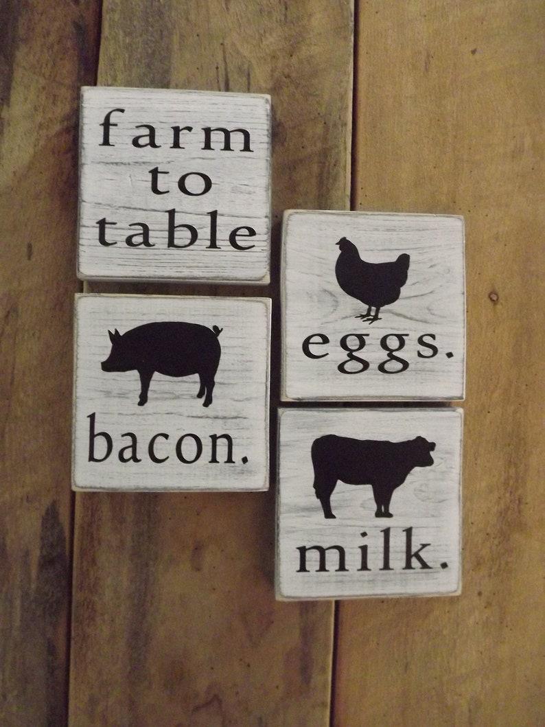 Rustic Wood Sign FARM FRESH BACON Home Decor Kitchen Farmhouse Pig Distressed