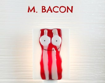 Nightlight, bacon, fused glass, decoration, kitchen, gift, Mr. Bacon
