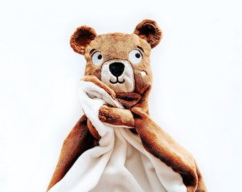 Winston brown bear soft toy for babies and children, soft toy for sleeping, soft gift for toddlers, small toy blanket