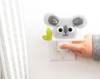 Little gray koala fusion glass night light, Billie, nursery decor, shower gift, night light for children, gender-neutral gift