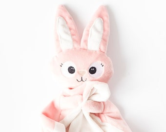 Doudou pink rabbit Maguerite, soft toy for baby and child, soft toy for sleeping, soft gift for toddlers, small blanket toy