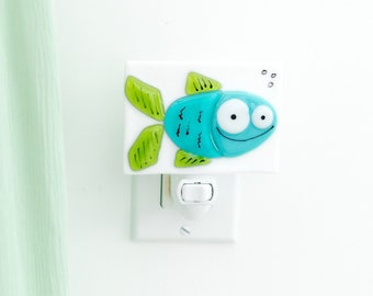 Turquoise and green fish night light in fusion glass, decoration for bathroom, decoration or gift for playroom or for child