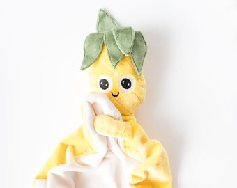 Eduardo pineapple soft toy, soft toy for babies and children, soft toy for sleeping, soft gift for toddlers, small pineapple toy blanket