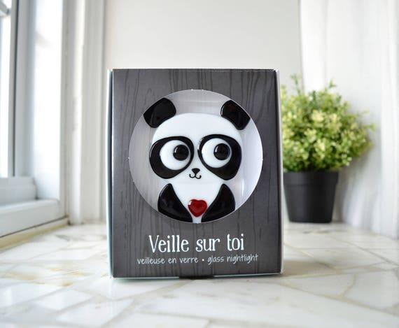 Nachtlampje panda glas fusion baby versieren kamer etsy